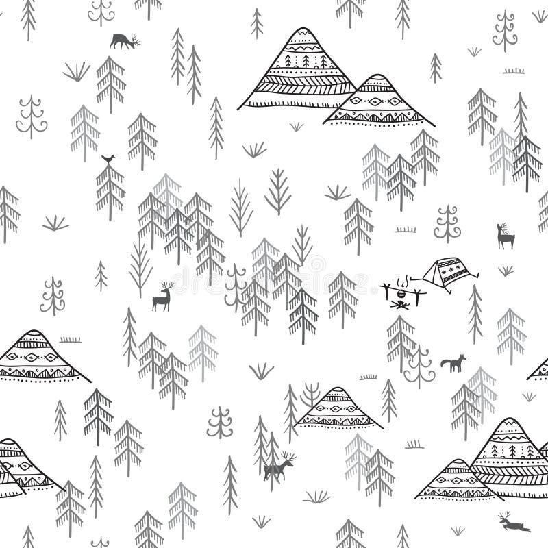 Sömlös modell med berg och att campa för skog royaltyfri illustrationer