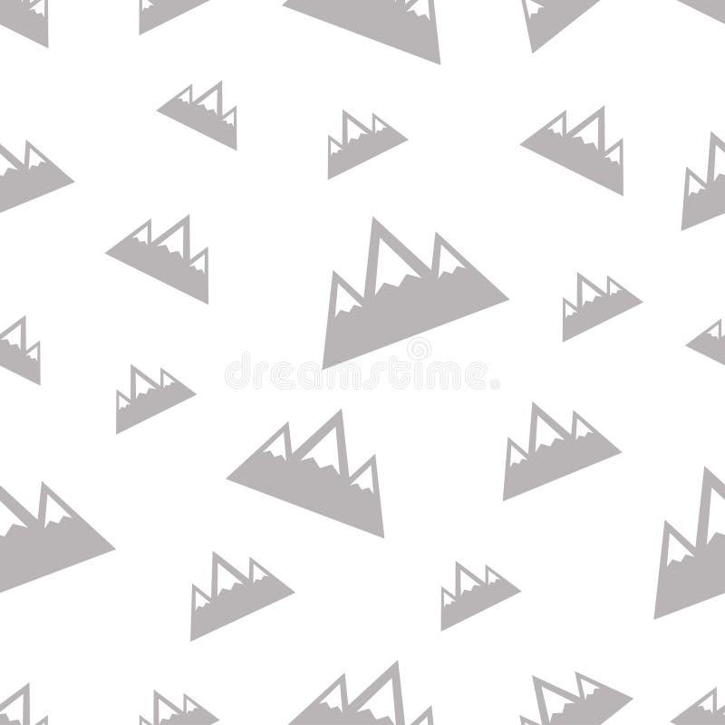 Sömlös modell med berget på vit bakgrund royaltyfri illustrationer