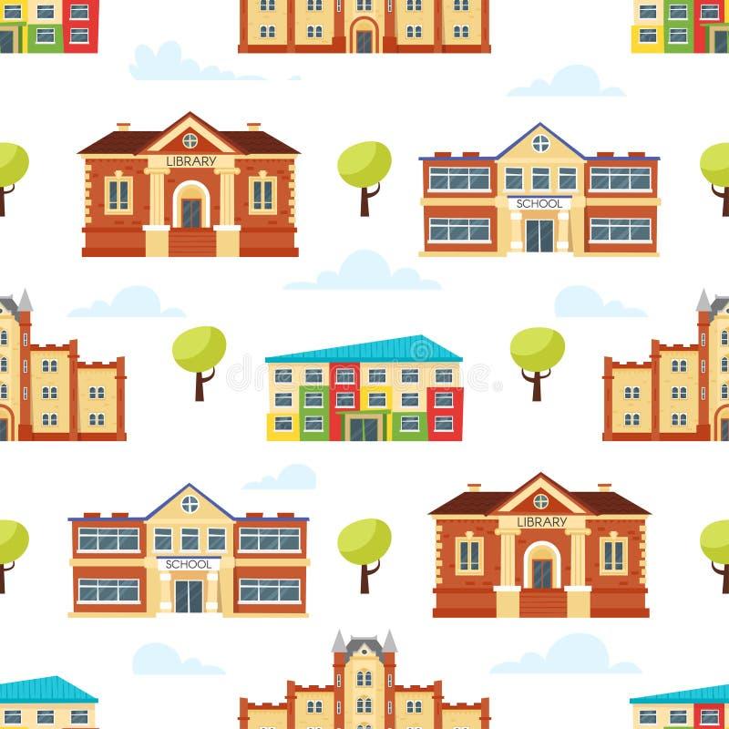 Sömlös modell med bildande byggnader stock illustrationer
