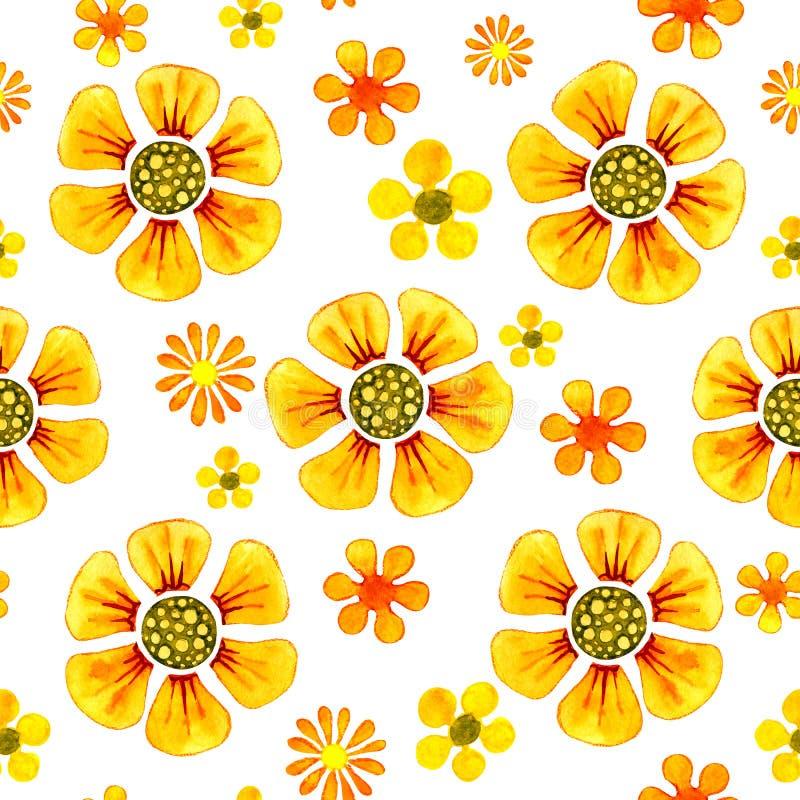 Sömlös modell med bilden av blommor Vattenfärgtecknad filmillustration för design av tryck, klistermärkear, bakgrund, kort, stock illustrationer