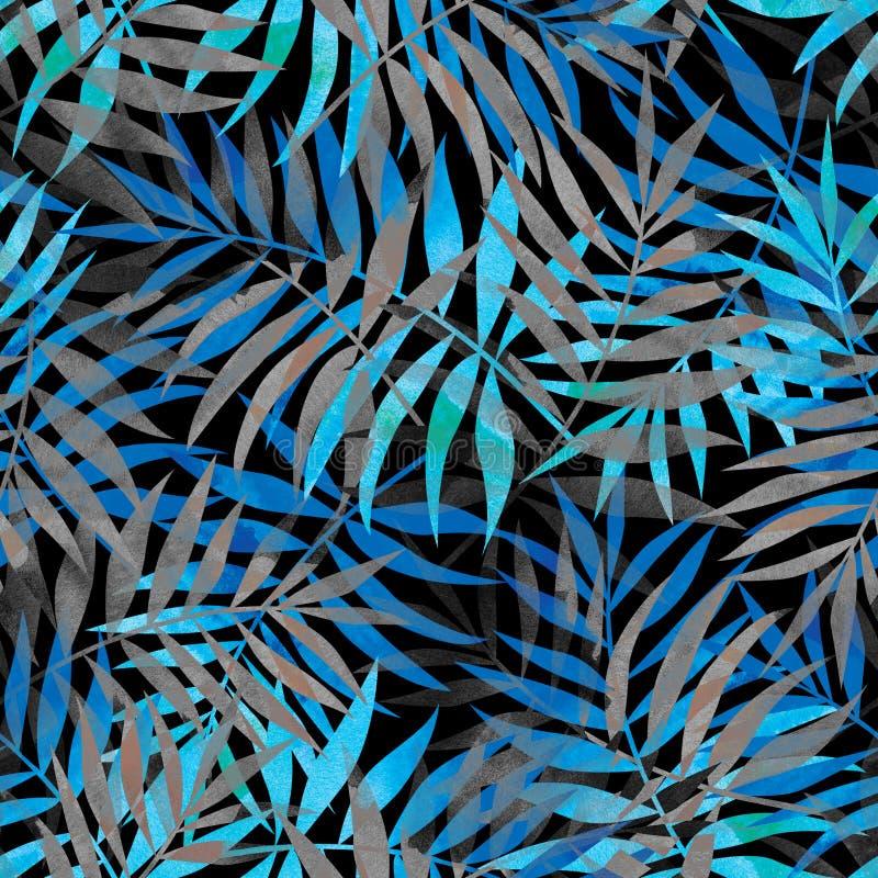 Sömlös modell med blåa och gråa tropiska palmblad på mörker vektor illustrationer