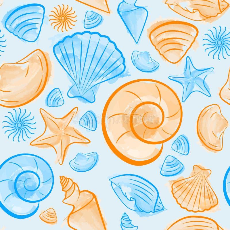 Sömlös modell med blåa och orange snäckskal stock illustrationer