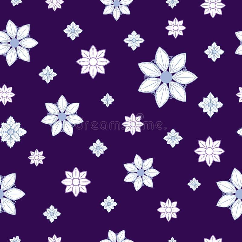 Sömlös modell med blåa och vita vinterblommor på en mörk purpurfärgad bakgrund royaltyfri illustrationer