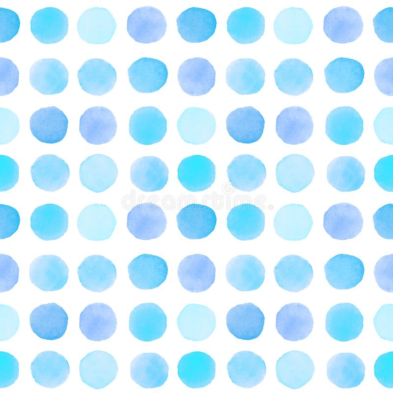 Sömlös modell med blåa prickar vektor illustrationer