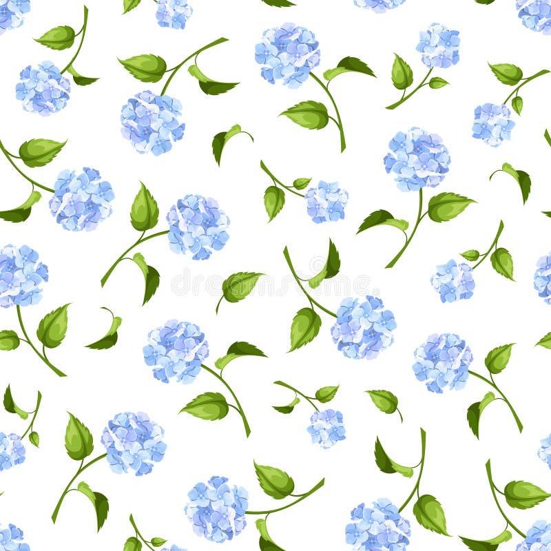 Sömlös modell med blåa vanlig hortensiablommor också vektor för coreldrawillustration royaltyfri illustrationer