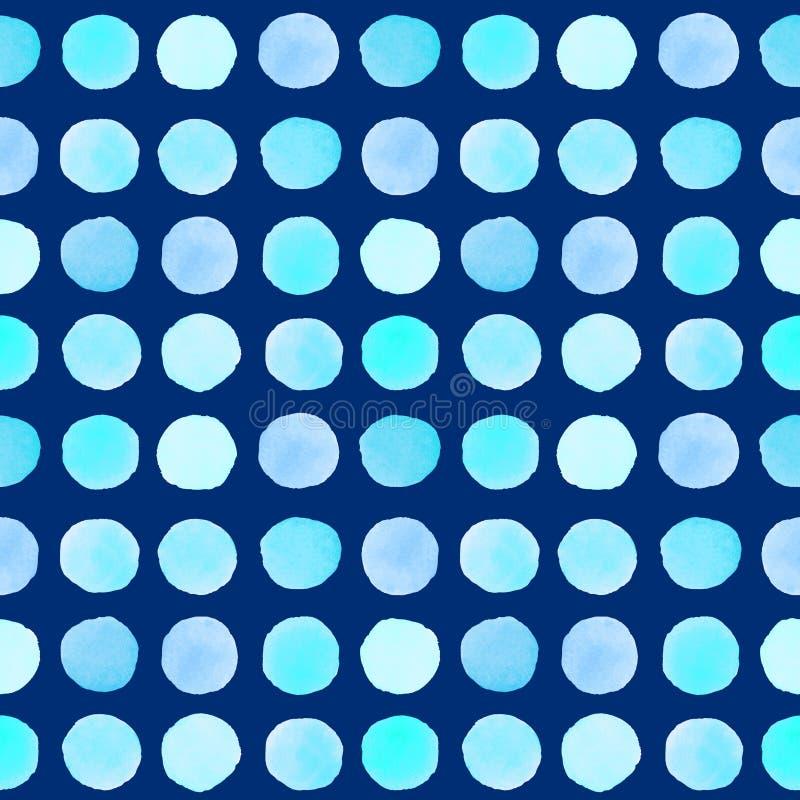 Sömlös modell med blåa vattenfärgfläckar stock illustrationer