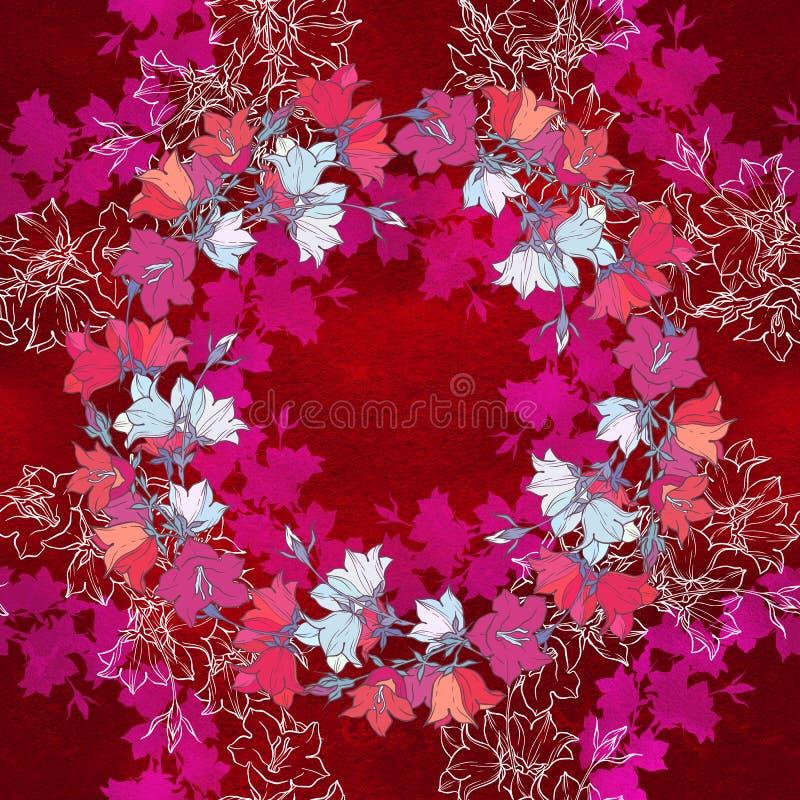 Sömlös modell med blåklockor blom- prydnad arkivbilder