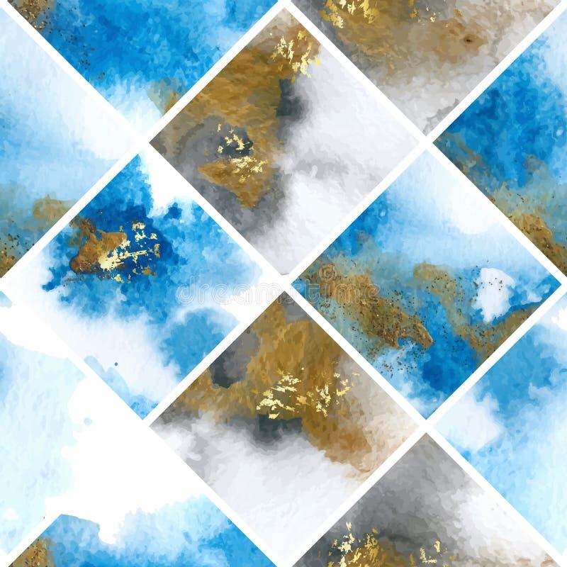 Sömlös modell med blått och guld- marmorvattenfärgtextur också vektor för coreldrawillustration vektor illustrationer