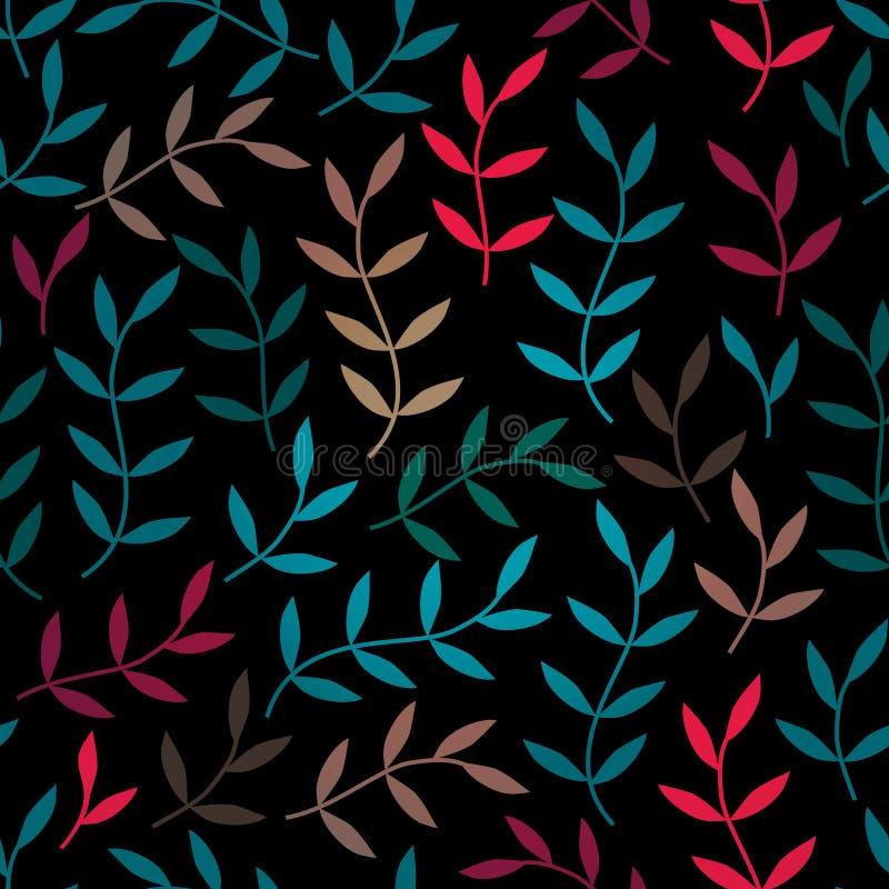 Sömlös modell med bladet, abstrakt bladtextur, ändlös backg vektor illustrationer
