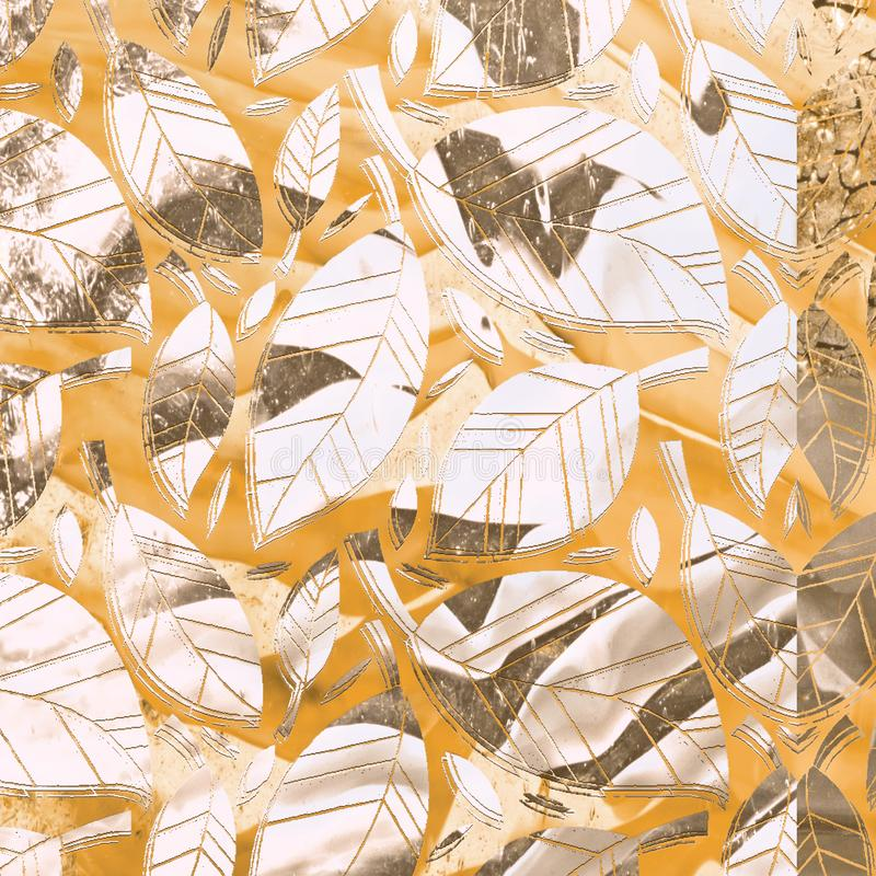 Sömlös modell med bladet, colorfullbladbakgrund abstrakt leaftextur Gullig bakgrund 2008 leaves f?r leaf f?r dunge f?r torr fall  royaltyfri illustrationer