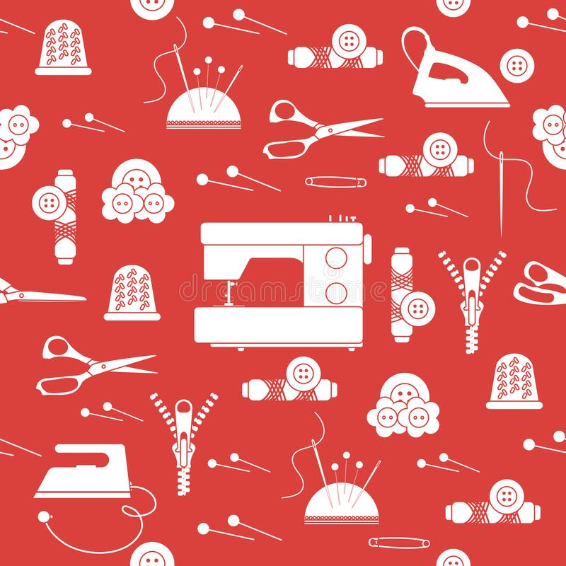 Sömlös modell med blixtlåset, visare, fingerborg, ben, trådar, knappar, sax, symaskin, järn Sömnad och handarbete vektor illustrationer