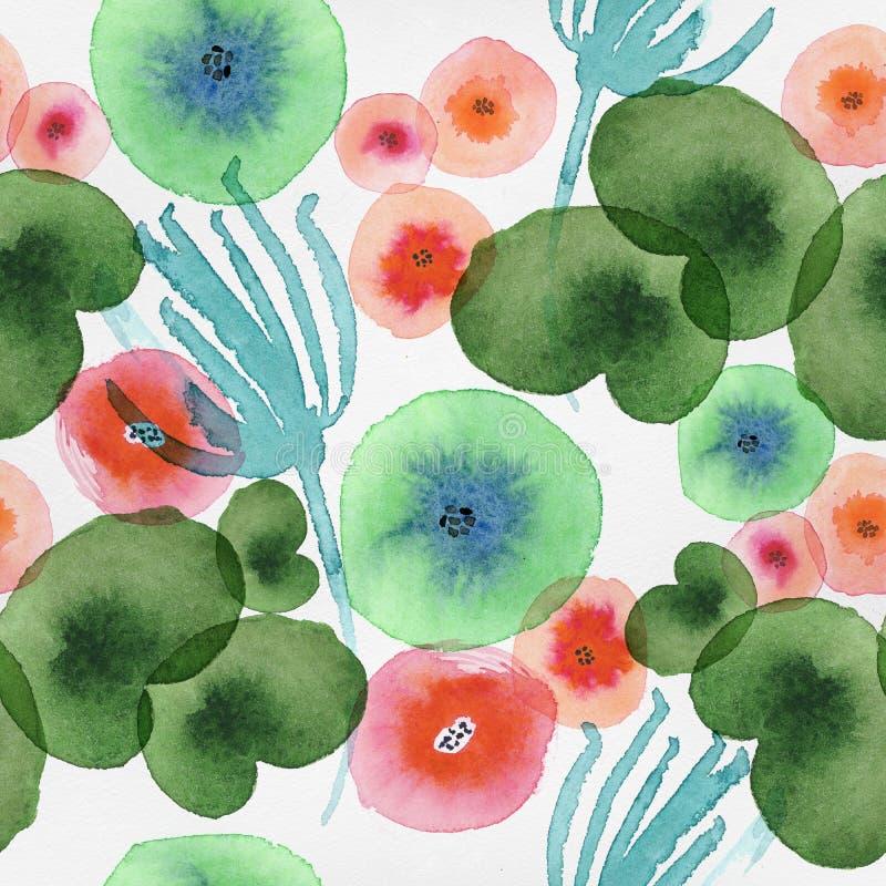 Sömlös modell med blom- beståndsdelar för vattenfärg stock illustrationer