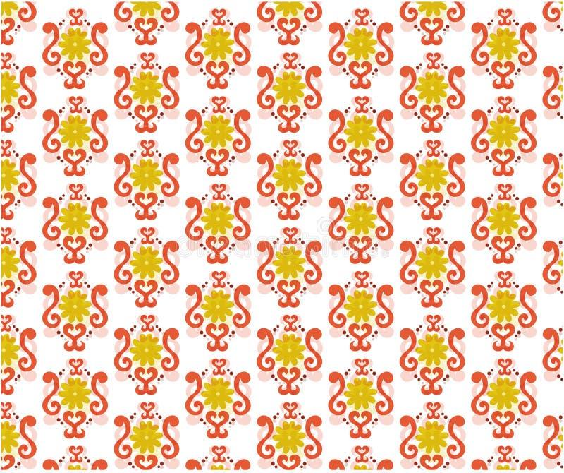 Sömlös modell med blom- sidor, textil, gul blomma royaltyfri illustrationer