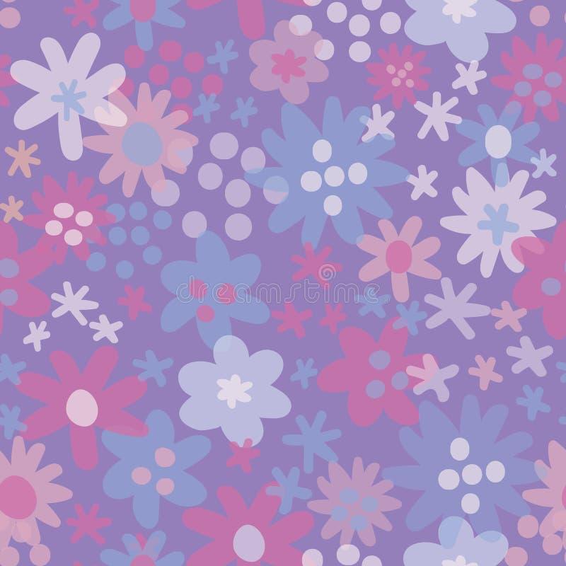 Sömlös modell med blommabakgrund seamless vektor för modell Trädgårds- pastell för blommahandteckning blom- royaltyfri illustrationer