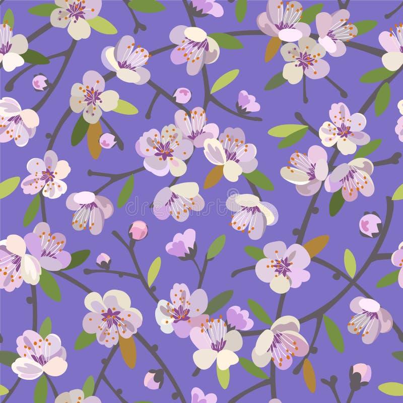 Sömlös modell med blommande äpplefilialer Våren blomstrar blom- bakgrund vektor illustrationer