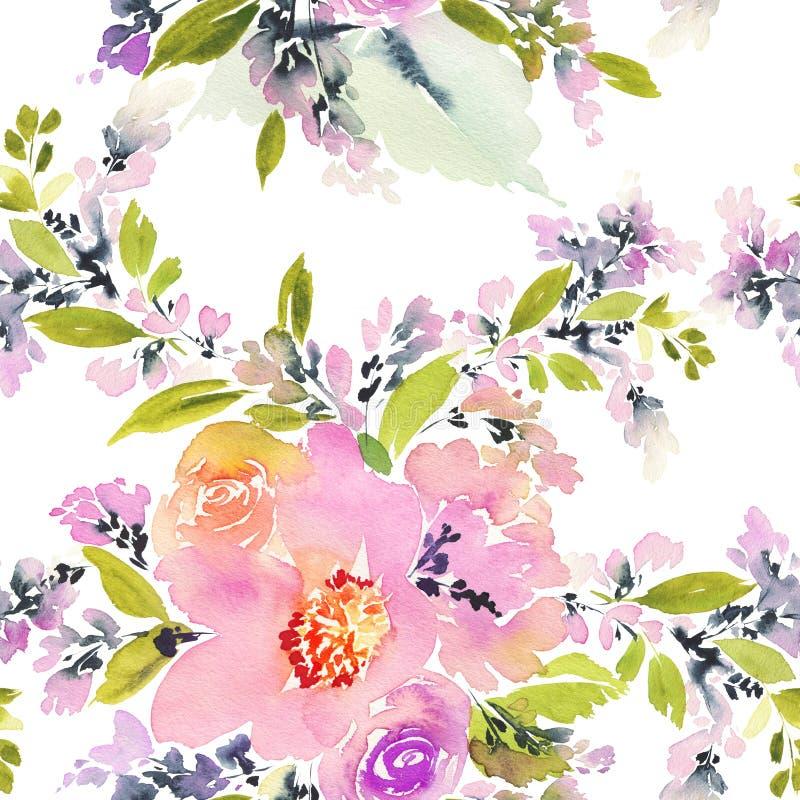 Sömlös modell med blommavattenfärgen stock illustrationer