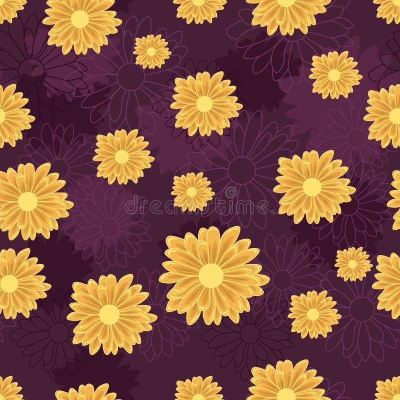 Sömlös modell med blommor för orange tusensköna på mörk violett bakgrund royaltyfri illustrationer