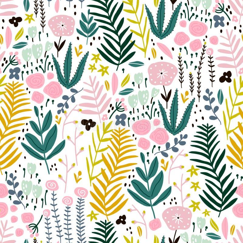 Sömlös modell med blommor, filial, sidor Id?rik blom- textur Utm?rkt f?r tyg, textilvektorillustration royaltyfri illustrationer
