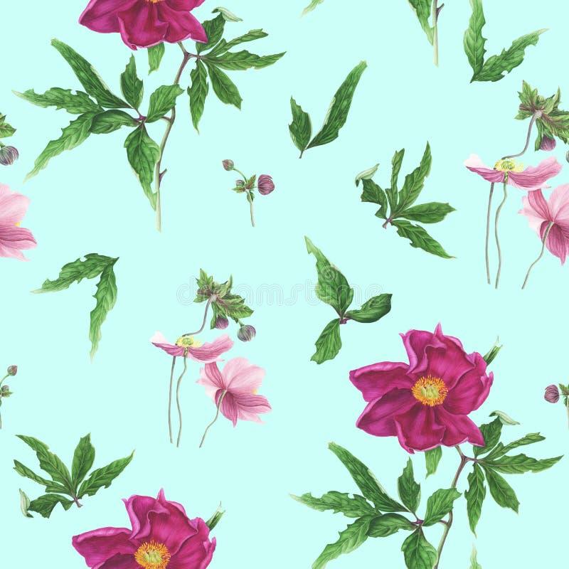 Sömlös modell med blommor och sidor av den rosa pionen och anemoner, vattenfärgmålning royaltyfri illustrationer