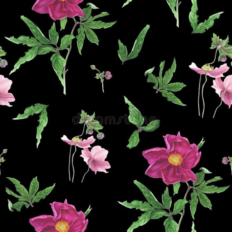Sömlös modell med blommor och sidor av den rosa pionen och anemoner, vattenfärgmålning stock illustrationer