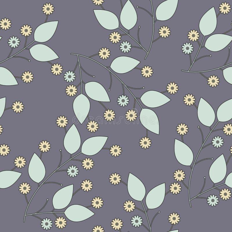 Sömlös modell med blommor och sidor på puplebackg royaltyfri illustrationer