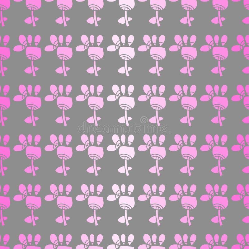 Sömlös Modell Med Blommor På En Grå Bakgrund Arkivfoton