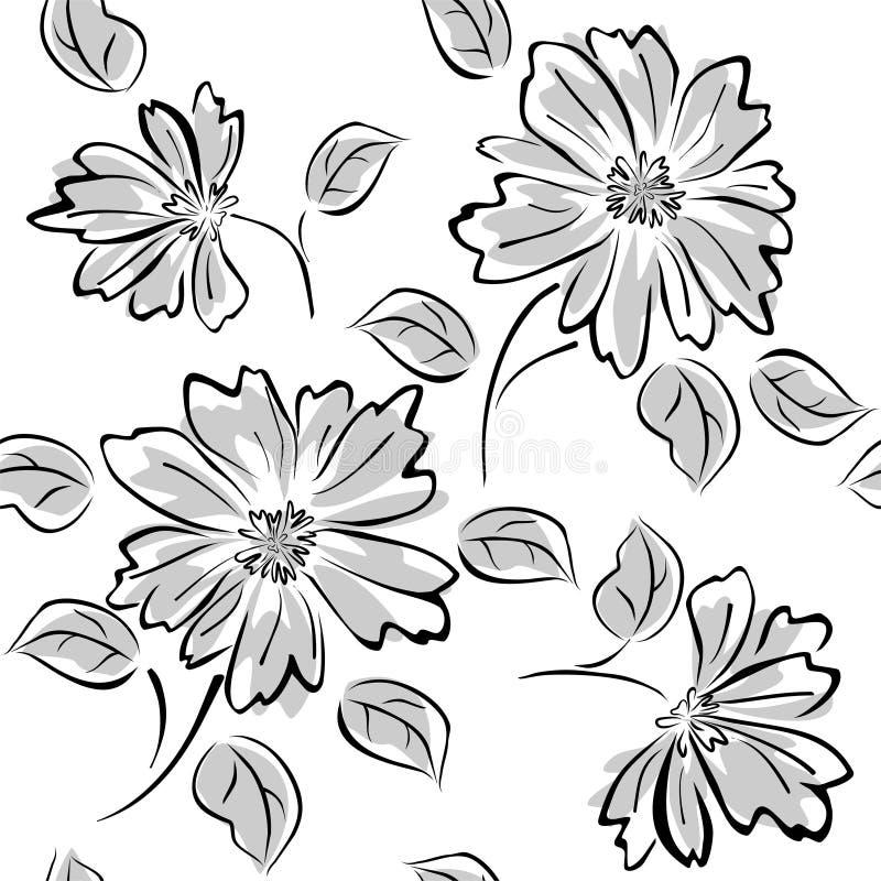 Sömlös modell med blommor på vit bakgrund royaltyfri illustrationer