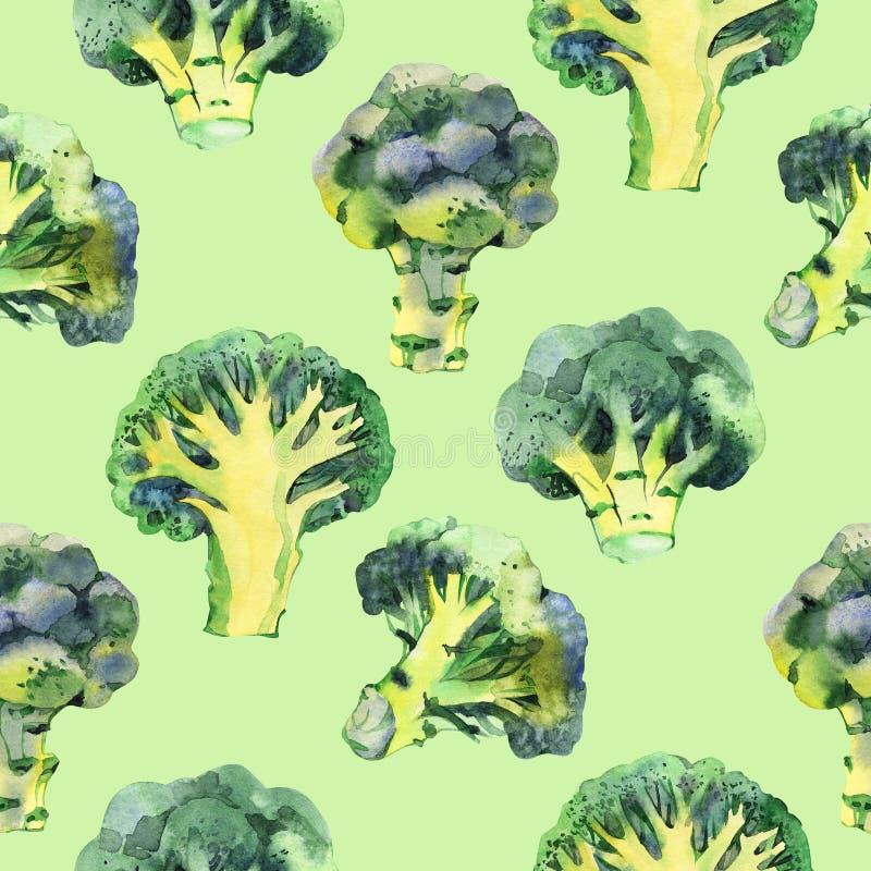Sömlös modell med broccoli för flygillustration för näbb dekorativ bild dess paper stycksvalavattenfärg många bakgrundsklimpmat m royaltyfri illustrationer
