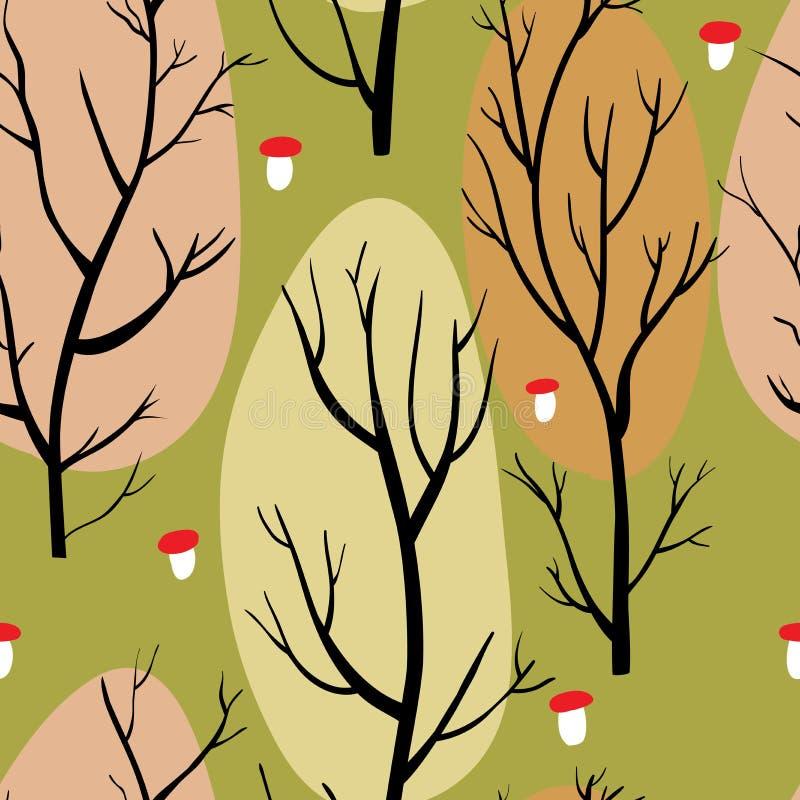 Sömlös modell med bruna träd och röda champinjoner på grön bakgrund stock illustrationer