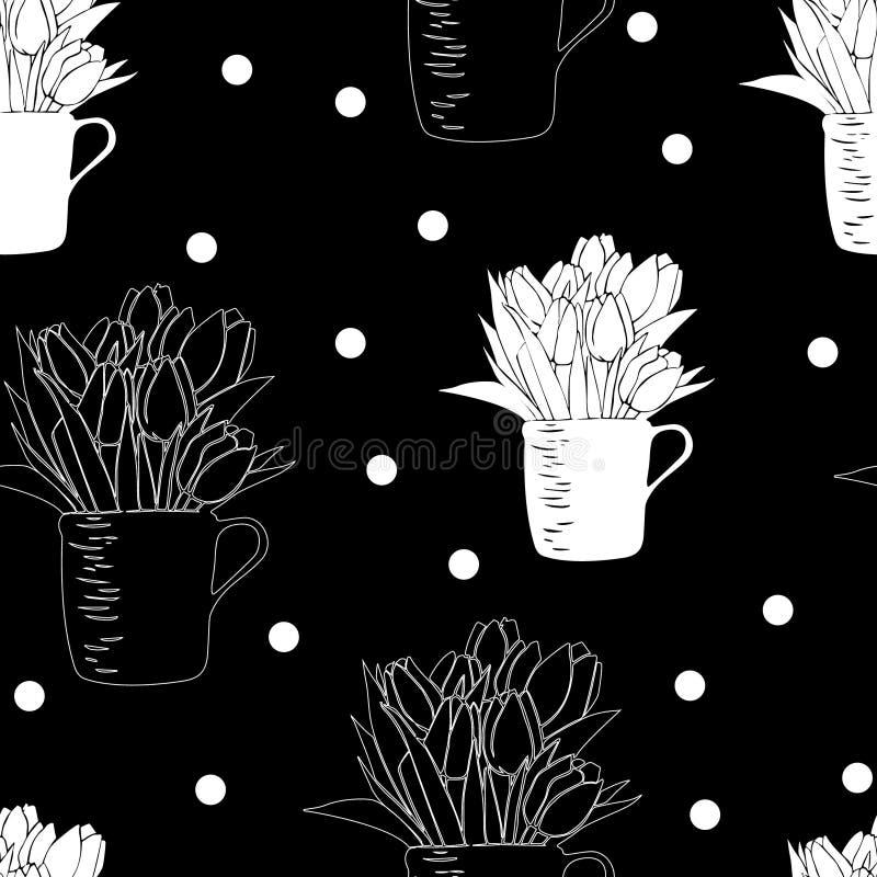 Sömlös modell med buketten av tulpan i en kopp och prickar stock illustrationer
