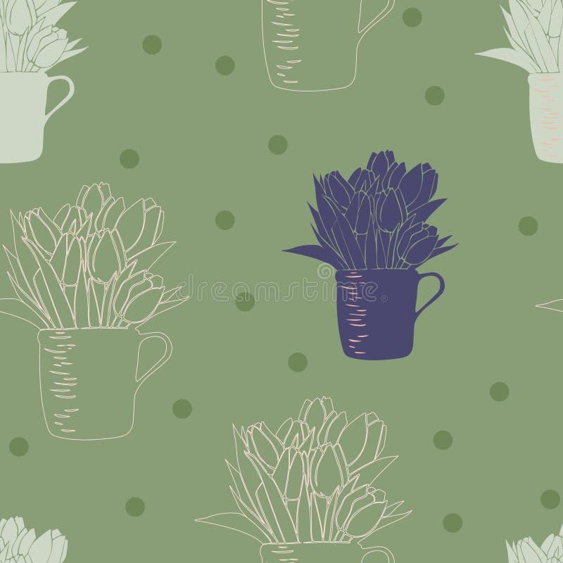 Sömlös modell med buketten av tulpan i en kopp och prickar vektor illustrationer