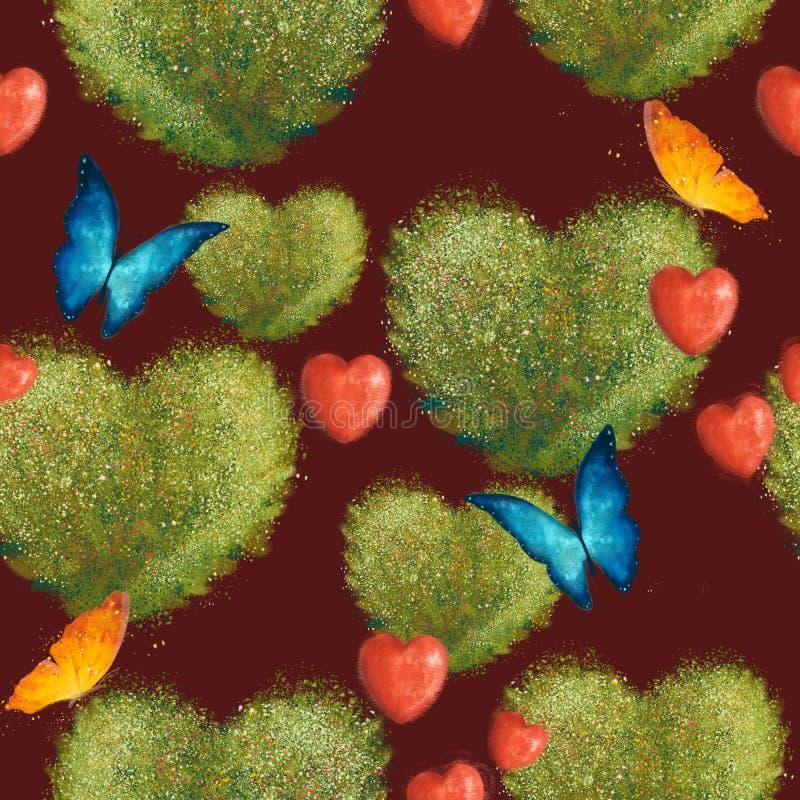 Sömlös modell med buskar i form av hjärtor och fjärilar På en mörkröd bakgrund royaltyfria bilder