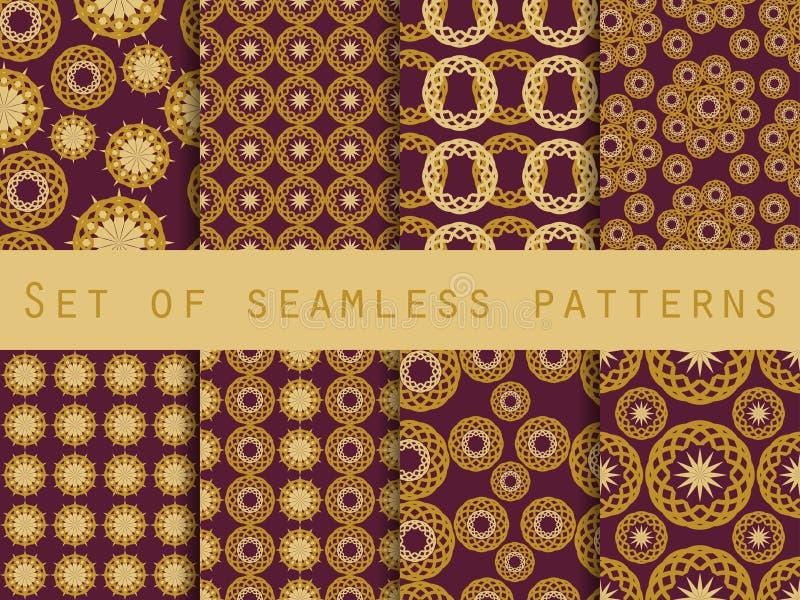 Sömlös modell med cirklar och vävar set liknande för forntida etnisk prydnadmodellryss till royaltyfri illustrationer