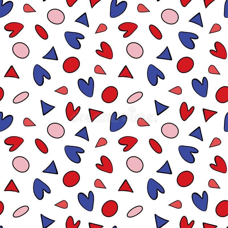 Sömlös modell med cirklar, trianglar och romantiska beståndsdelar för hjärtor vektor illustrationer