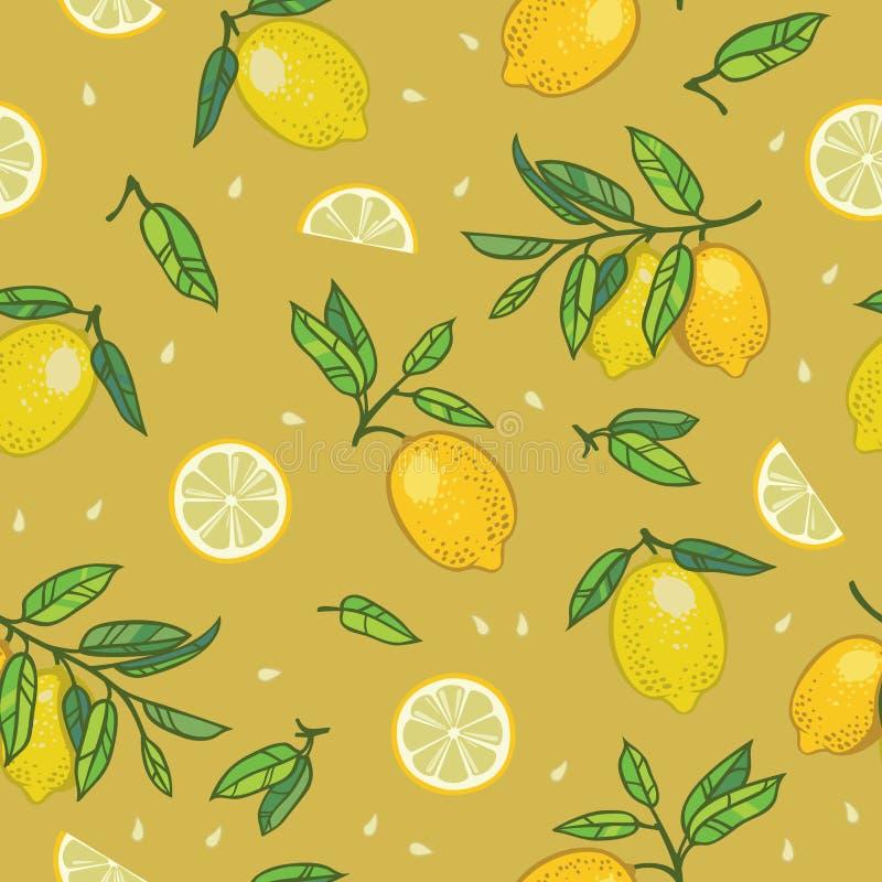 Sömlös modell med citroner royaltyfria foton
