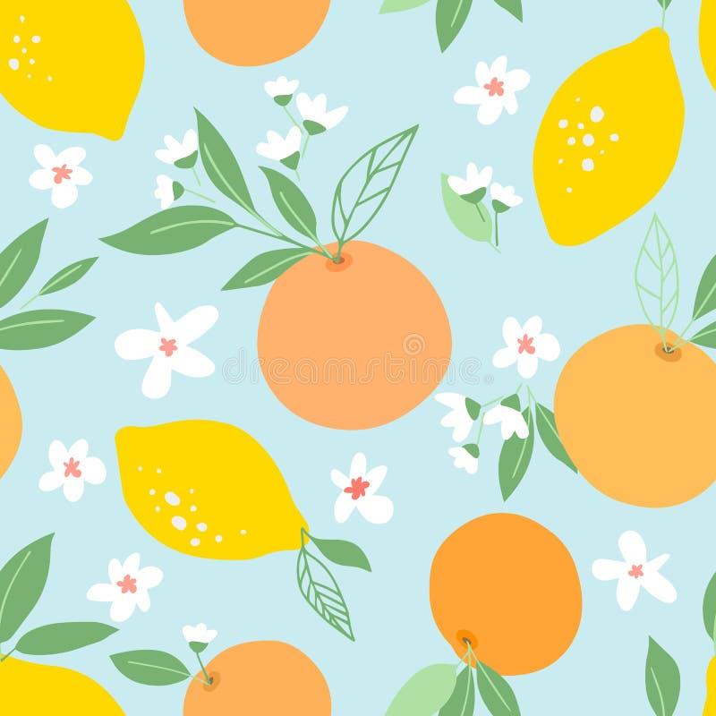 Sömlös modell med citroner och apelsiner, vändkretsfrukter, sidor, blommor Frukt upprepad bakgrund Växtmall för räkning som är fa royaltyfri illustrationer
