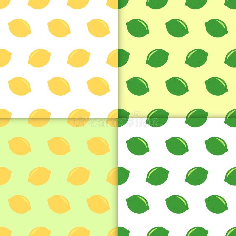 Sömlös modell med citroner och limefrukter Klottertapetvektor Färgrik sömlös modell med samlingen för nya frukter royaltyfri illustrationer