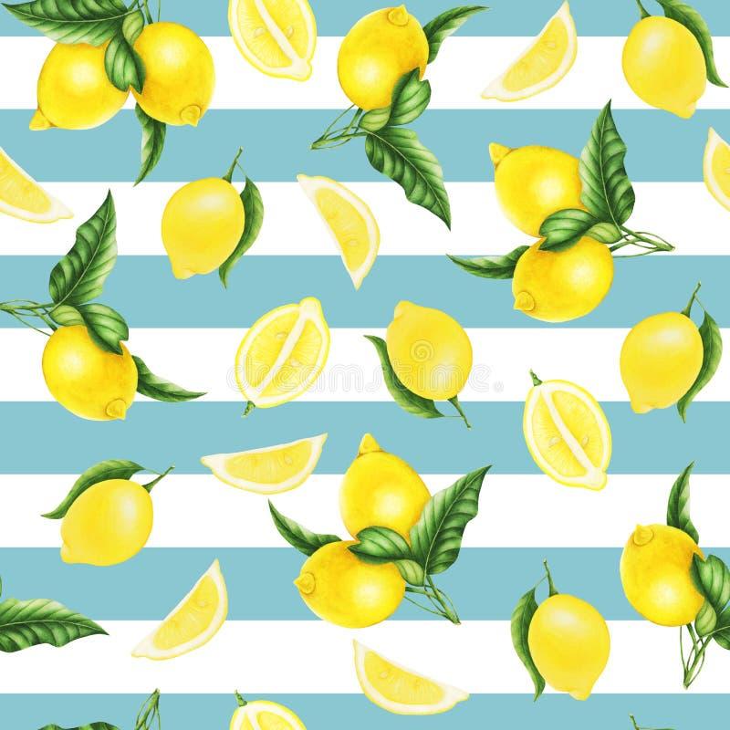 Sömlös modell med citroner och sidor och halva av citronen, vattenfärgmålning stock illustrationer