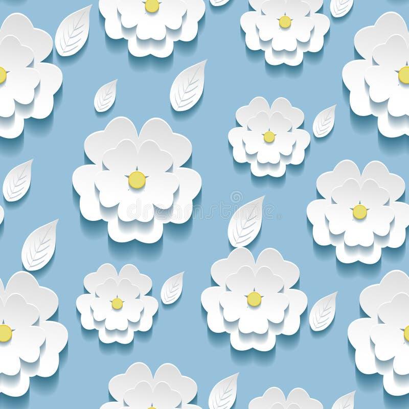 Sömlös modell med 3d vit sakura royaltyfri illustrationer