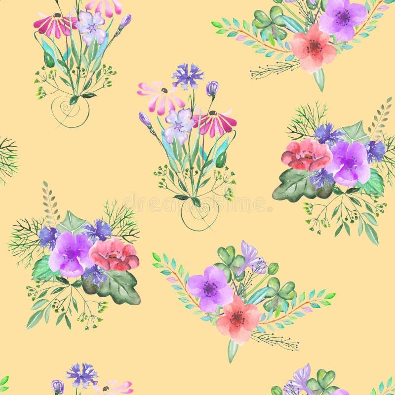 Sömlös modell med de blom- buketterna för enkel vattenfärg på en gul bakgrund stock illustrationer
