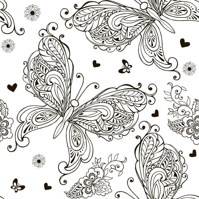 Sömlös modell med dekorativa fjärilar, blommor och hjärtor för färgläggningdiagram för bok färgrik illustration stock illustrationer