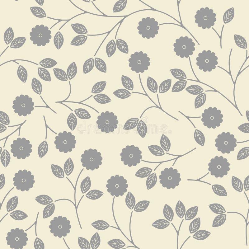 Sömlös modell med dekorativa grå färgblommor och sidor på ivor royaltyfri illustrationer
