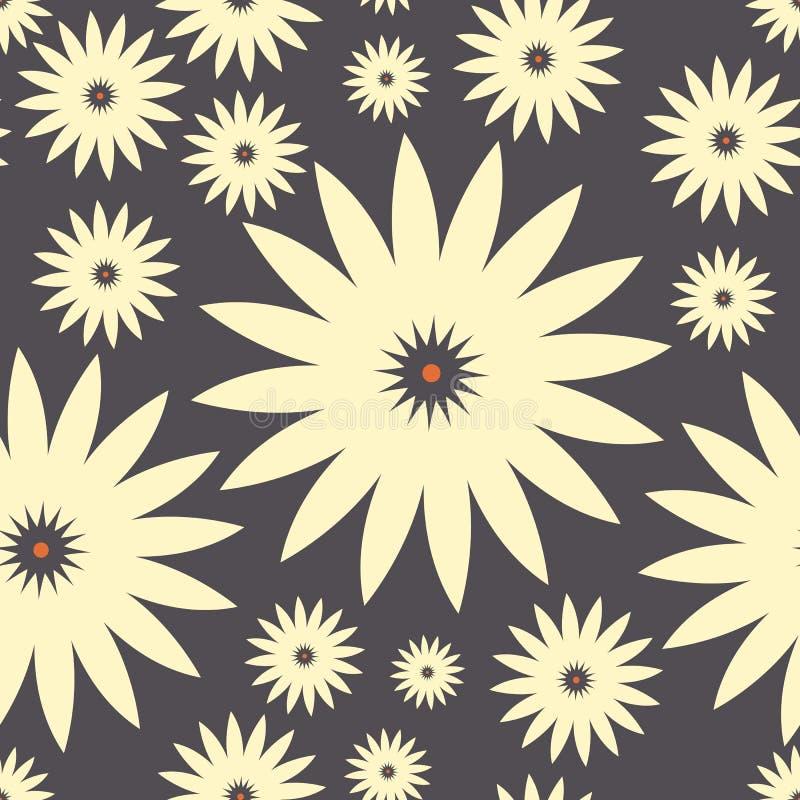 Sömlös modell med dekorativa kamomillblommor som isoleras på purpurfärgad grå bakgrund stock illustrationer
