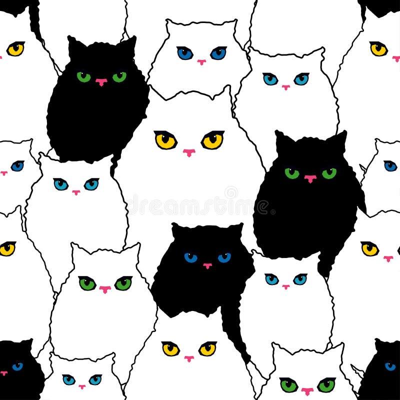 Sömlös modell med dekorativa katter Roliga älskvärda katter borsten Kläcka för hand klotter royaltyfri illustrationer