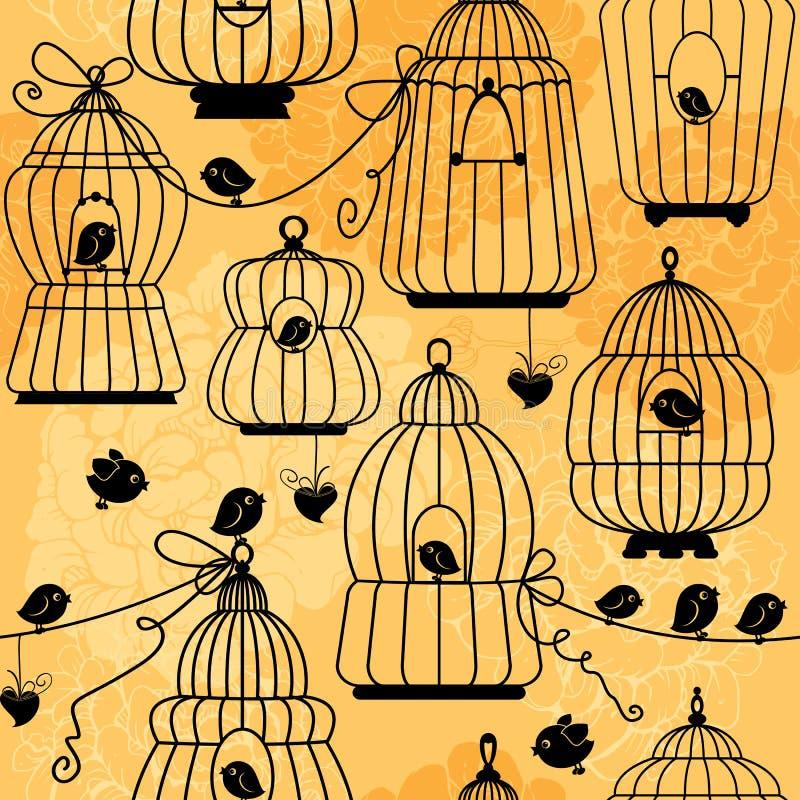 Sömlös modell med dekorativa konturer för fågelbur stock illustrationer