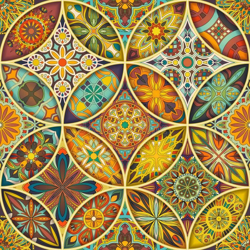 Sömlös modell med dekorativa mandalas Tappningmandalabeståndsdelar färgrik patchwork royaltyfri fotografi