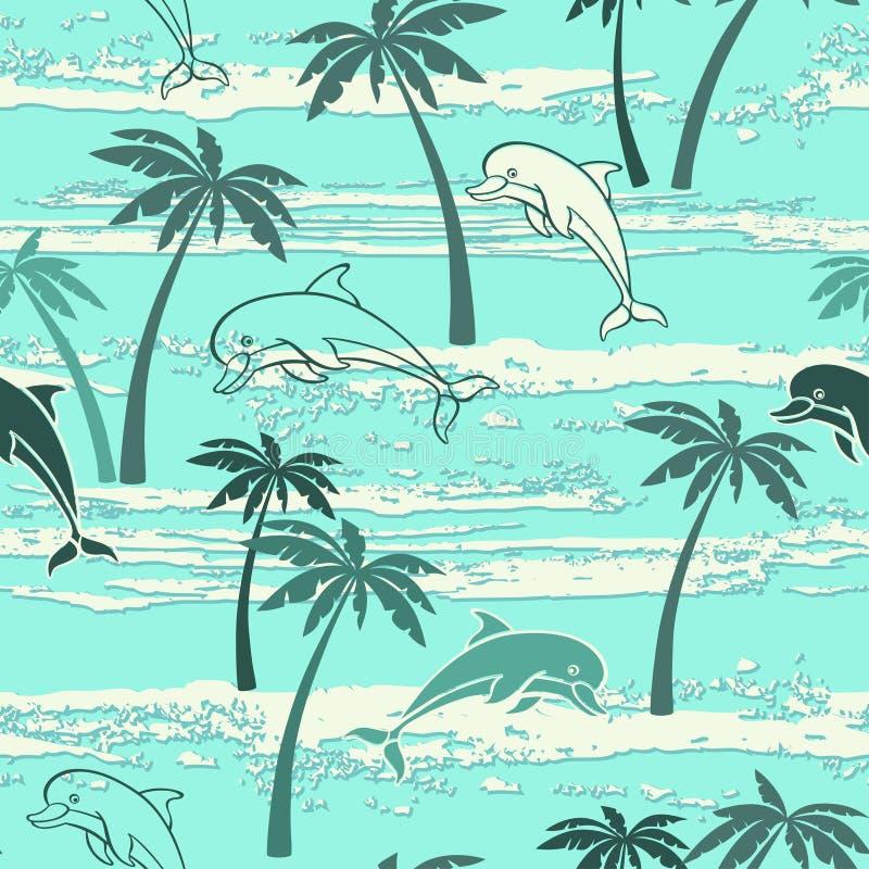 Sömlös modell med delfin och palmträd Blåtthav, Sky & moln royaltyfri illustrationer