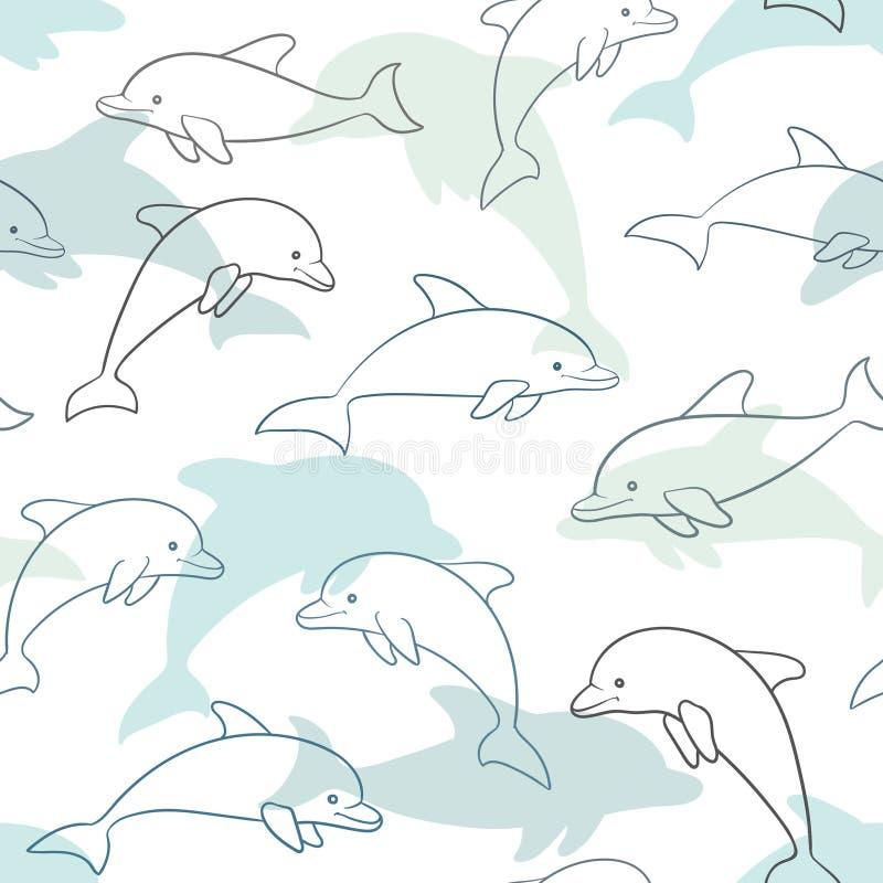 Sömlös modell med delfin på vit planlägg för feriehälsningkortet och inbjudan av baby shower, födelsedagen, barnkläder, s vektor illustrationer