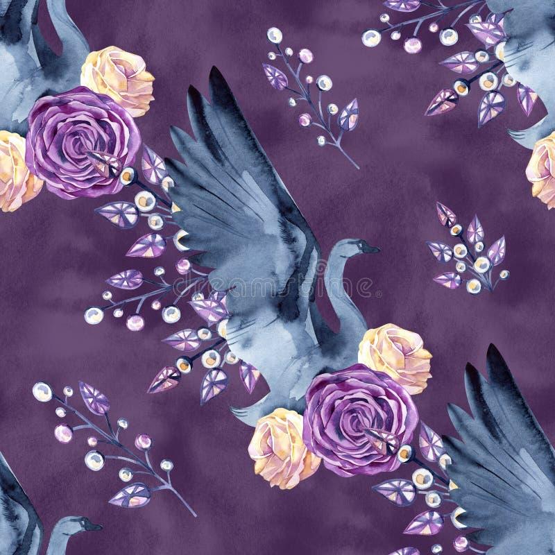 Sömlös modell med delikata svanar, fjädrar, rosor, smycken hand-dragen vattenfärg stock illustrationer
