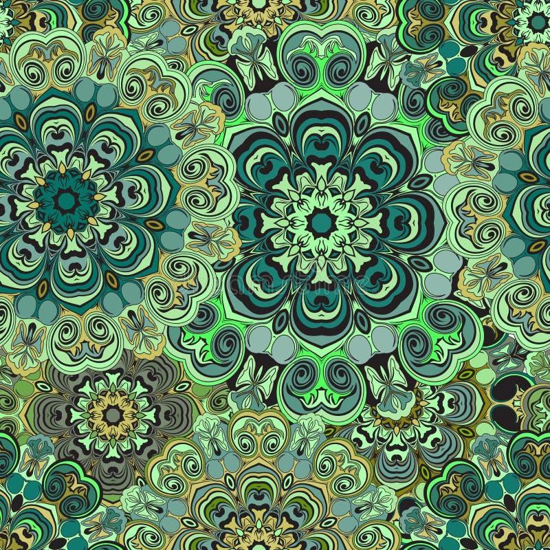 Sömlös modell med den östliga blom- prydnaden Blom- orientalisk design i aztecen, turk, Pakistan, indier, kines stock illustrationer